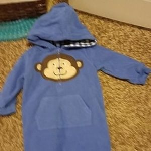 9month blue monkey jumper with hood